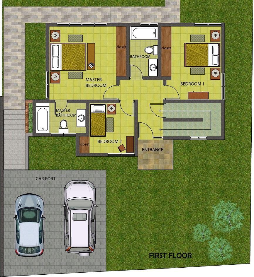 Villa layout blueprint ref 001
