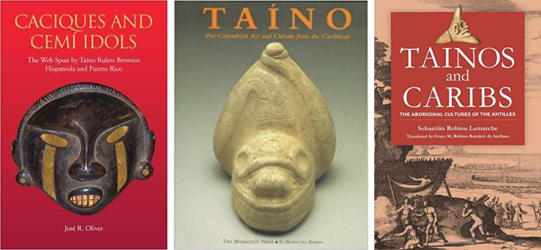 Selection of books on Taino culture.