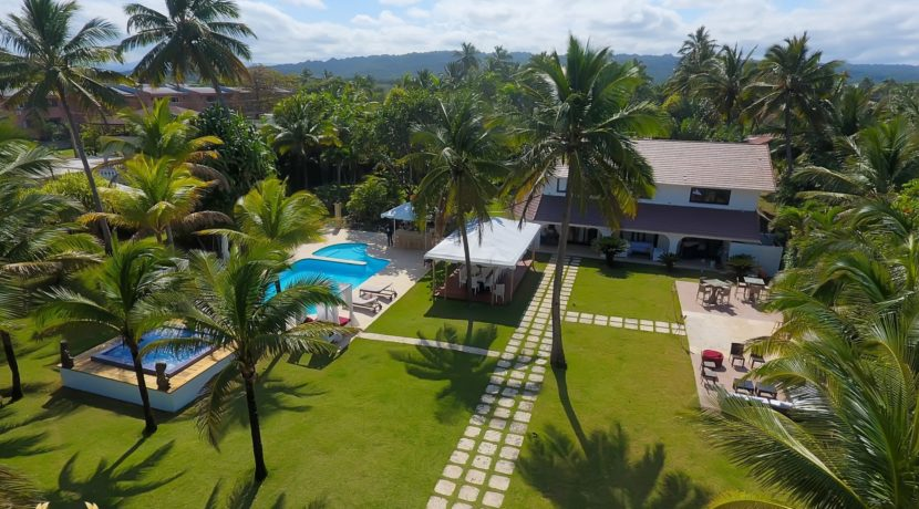 aerial view of the beach villa rental in Cabarete