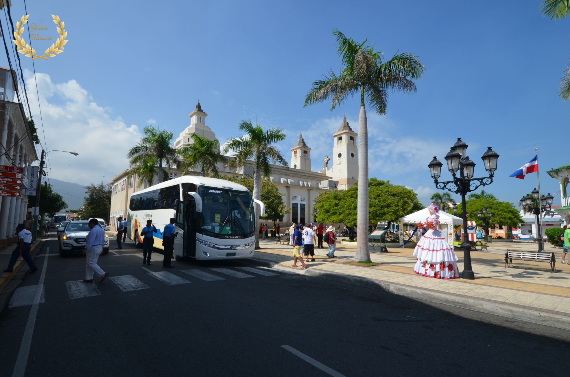 tourists arrive at the central park in Puerto Plata, Dominican Republic.