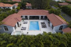 aerial view of the pool and villa deck