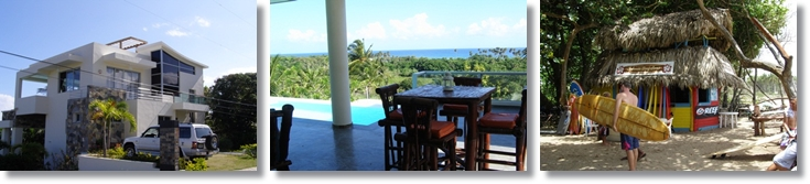 collage of the beach villa with ocean views for rent in encuentro cabarete