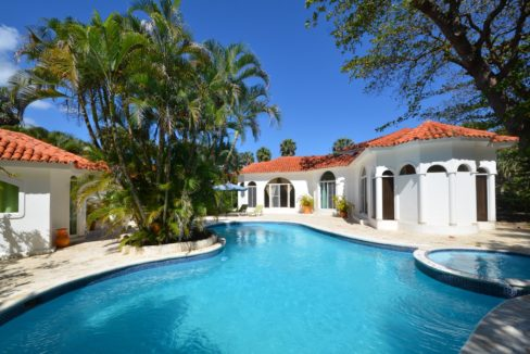 the beach villa has a large swimming pool